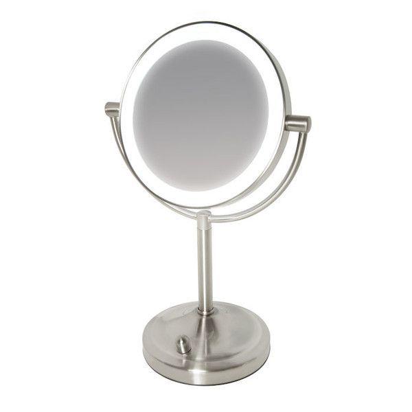 Косметическое двустороннее зеркало с увеличением и регулируемой подсветкой